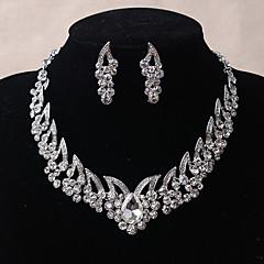 Κοσμήματα 1 Κολιέ 1 Ζευγάρι σκουλαρίκια Γάμου Πάρτι Καθημερινά Causal Κρύσταλλο Κράμα Στρας 1set Γυναικεία Ασημί Δώρα Γάμου