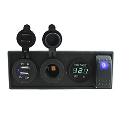 billige Autodele-dc 12v / 24v ledet power voltmeter 3.1a usb port stikkontakter med rocker switch jumperledninger og boliger holder
