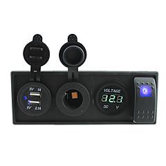 billiga Bildelar-DC 12V / 24V ledde strömvoltmeter 3.1a USB-port uttag med vipptangenten bygeltrådar och hushållaren