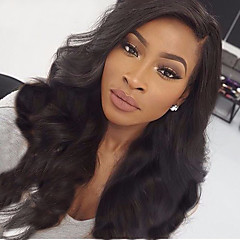 cheap Human Hair Wigs-Human Hair Lace Front Wig Body Wave 360 Frontal 180% Density 100% Hand Tied African American Wig Natural Hairline Medium Long Women's