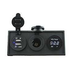 12V/24V Power charger3.1A USB port and 12V voltmeter gauge with housing holder panel for car boat truck RV