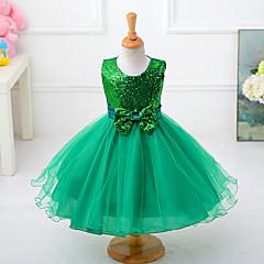 baratos Roupas de Meninas-Menina de Vestido Sólido Verão Poliéster Sem Manga Laço Roxo Fúcsia Vermelho Verde Azul