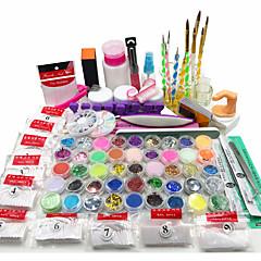 billiga Nagelvård och nagellack-nail art kit akryl pulver uv flytande glitter gel lim tips borste set