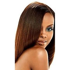 billiga Peruker och hårförlängning-Indiskt hår Yaki Remy-hår Human Hår vävar 1 Bundle 10-20tum Hårförlängning av äkta hår Medium Rödbrun