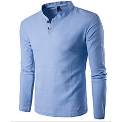 Men's Sports Casual Cotton Slim T-shirt - Solid Colored Stand