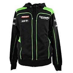 川崎モータースポーツレーシングパーカジャケットブラック/グリーンカラーメンズバイカースウェットシャツ