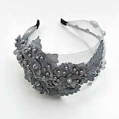 Tulle Pearl Lace Tiaras Headbands Flowers Headpiece Elegant Style
