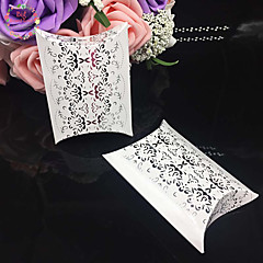 baratos -50pcs kraft papel travesseiro candy box caixa de presente casamento favores decoração do partido