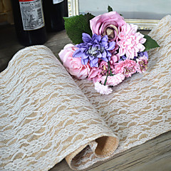 cheap Table Centerpieces-Width 30cm Length 220cm Natural Vintage Burlap Lace Hessian Table Runner Wedding Party Decoration Jute Table Runners