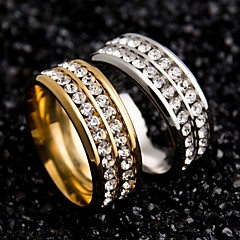 Women's Couple Rings Unique Design Stainless Steel Zircon Round Jewelry For Wedding Party Special Occasion Daily Casual