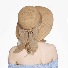 Damskie Vintage Urocza Straw Hat Kapelusz Jendolity kolor