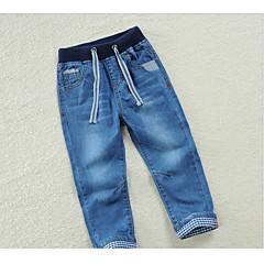 billige Drengebukser-Drenge Daglig Ensfarvet Polyester Bukser Marineblå 140