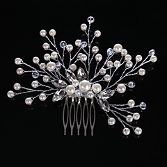 cheap Party Headpieces-Crystal Imitation Pearl Rhinestone Hair Combs Headpiece