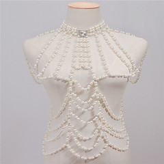 cheap Body Jewelry-Imitation Pearl Body Chain - Women's White Vintage Handmade Fashion Irregular Body Jewelry For Casual