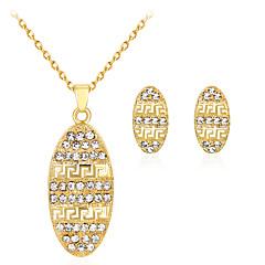 baratos Conjuntos de Bijuteria-Mulheres Conjunto de jóias Conjunto de Jóias - Strass, Chapeado Dourado Dourado