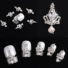 10pcs 3d taç yayla kravat kristal yapay elmas alaşım çivi sanat glitters diy dekorasyon (gümüş taç)
