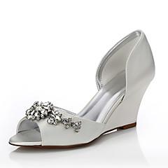 Kadın Ayakkabı İpek Bahar Yaz Rahat boyanabilen Ayakkabı Düğün Ayakkabıları Dolgu Topuk Burnu Açık Yuvarlak Uçlu Açık Uçlu Düğün Elbise