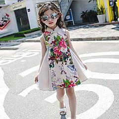 お買い得  女児 ドレス-女の子の 日常 ソリッド フラワー コットン レーヨン ドレス 夏 ノースリーブ フローラル ベージュ