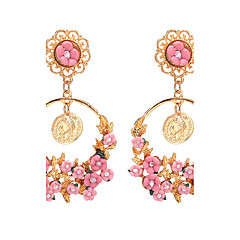 Women's Drop Earrings Jewelry Dangling Style Circle Floral Fashion Vintage Bohemian Euramerican Elegant Resin Zinc Alloy Round Flower