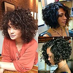 billiga Peruker och hårförlängning-Remy-hår Hel-spets Peruk Brasilianskt hår Lockigt Med babyhår 130% / 150% / 180% Densitet Naturlig hårlinje / Afro-amerikansk peruk / 100 % handbundet Dam Korta / Mellan Äkta peruker med hätta