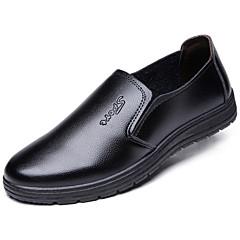 Homens Vestido Loafers Couro Primavera / Outono Conforto Mocassins e Slip-Ons Caminhada Preto / Marron