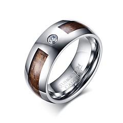 男性用 指輪 キュービックジルコニア ベーシック あり 欧米の シンプルなスタイル コスチュームジュエリー ファッション タングステン合金 円形 幾何学形 ジュエリー 用途 パーティー 誕生日 日常 カジュアル スポーツ