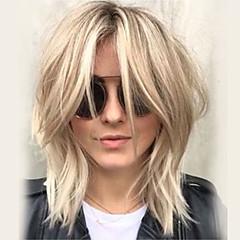 billige Lågløs-Human Hair Capless Parykker Menneskehår Bølget Frisure i lag Med bangs / pandehår Side del Medium Maskinproduceret Paryk Dame