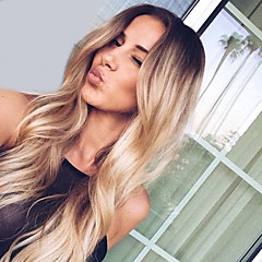 cheap Wigs & Hair Pieces-Synthetic Wig Wavy Middle Part Dark Roots Ombre Hair Capless Women's Blonde Natural Wigs Long