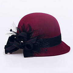 cheap Party Hats-Wool Hats Headwear with Floral 1pc Wedding Special Occasion Casual Outdoor Office & Career Headpiece
