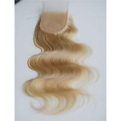 billiga Peruker och hårförlängning-PANSY Brasilianskt hår 3.5x4 Stängning Kroppsvågor / Klassisk Fria delen / Mittparti / 3 Del Fransk spets Remy-hår Dagligen