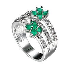 billige Motering-Dame Syntetisk Smaragd Ring - Zirkonium, Smaragd, Legering Unikt design, Mote, Euro-Amerikansk 6 / 7 / 8 Grønn Til Bryllup / Spesiell Leilighet / jubileum