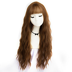 cheap Wigs & Hair Pieces-Synthetic Wig Women's Wavy / Loose Wave Brown With Bangs Synthetic Hair With Bangs Brown / Gray Wig Long Capless Ash Brown Brown Grey