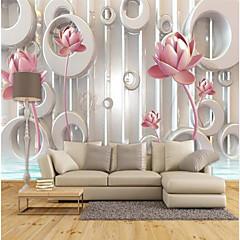 billige Tapet-rosa lotus preget tilpasset 3d stor veggdekorasjon veggmaleri tapet passer kaffe rom soverom kjøkken blomstret