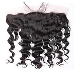 billiga Peruker och hårförlängning-Löst vågigt Klassisk 4x13 Stängning Fransk spets Äkta hår Fria delen Mittparti 3 Del Dagligen