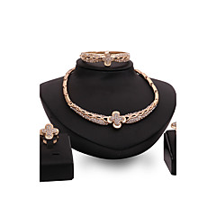 tanie Zestawy biżuterii-Damskie Rhinestone Kryształ górski Pozłacane Biżuteria Ustaw Pierścionki 1 Naszyjnik 1 parę kolczyków Bransoletka - Spersonalizowane