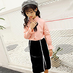 billige Tøjsæt til piger-Børn Pige Blonde / Stribet Stribe / Patchwork Langærmet Bomuld Tøjsæt