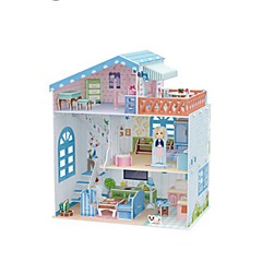 billige -3D-puslespill Puslespill Dukkehus Papirmodell Kjent bygning Tre Barne Jente Gave