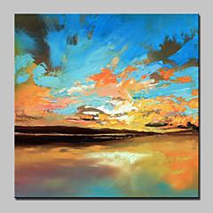 billiga Oljemålningar-Hang målad oljemålning HANDMÅLAD - Abstrakta landskap Abstrakt / Modern Utan innerram / Valsad duk