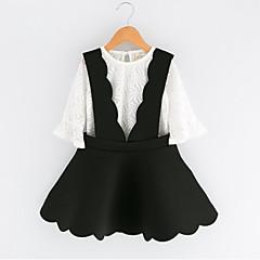 billige Tøjsæt til piger-Pige Tøjsæt Ensfarvet, Bomuld Polyester Forår Efterår Halvlange ærmer Sort