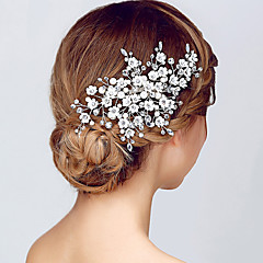 Silver Flower Shape Crystal Headpiece-Wedding Special Occasion Headbands Crown Head Chain 1 Piece