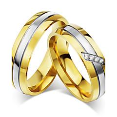お買い得  指輪-カップル用 カップルリング キュービックジルコニア ヴィンテージ Elegant キュービックジルコニア チタン鋼 円形 コスチュームジュエリー 結婚式 記念日 パーティー 婚約 式典