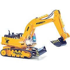baratos Carros Controle Remoto-Carro com CR HUINA 1310 11 canais 2.4G Maquina de Escavar Escavadora 1:16 Electrico Escovado KM / H Controlo Remoto Recarregável Elétrico