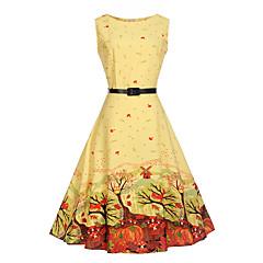 baratos Roupas de Meninas-Infantil Para Meninas Floral / Desenho Moderno Estampado Sem Manga Algodão / Poliéster / Algodão Vestido Amarelo