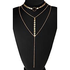 Dame Kort halskæde Cirkelformet Legering Unikt design Flerlags kostume smykker Euro-Amerikansk Smykker Til Bryllup Fest Daglig Afslappet