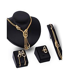 baratos Conjuntos de Bijuteria-Mulheres Conjunto de jóias - Strass, Chapeado Dourado Personalizada, Luxo, Vintage Incluir Dourado Para Festa / Ocasião Especial / Housewarming