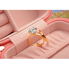 cheap Rings-Women's Ring Rhinestone Gold Silver Champagne Cubic Zirconia Titanium Steel Gold Plated Round Classic Elegant Wedding Anniversary Party