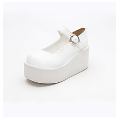 cheap Lolita Footwear-Lolita Shoes Classic Lolita Dress Punk Lolita Dress Handmade Lolita Wedge Heel Solid Color Lolita 8cm CM White For PU Leather PU Leather