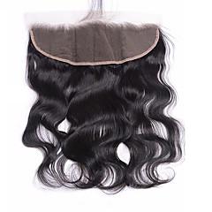 billiga Peruker och hårförlängning-Brasilianskt hår 4x13 Stängning Kroppsvågor Schweizisk spetsperuk Obehandlad hår Dam Dagligen