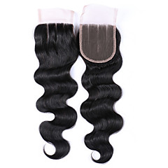 cheap Closure & Frontal-Brazilian Hair 4x4 Closure Body Wave Free Part / Middle Part / 3 Part Swiss Lace Unprocessed Human Hair Women's Daily