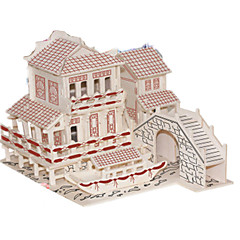 cheap -3D Puzzles Jigsaw Puzzle Wood Model Model Building Kit Famous buildings Chinese Architecture Architecture 3D Simulation DIY Wooden Wood